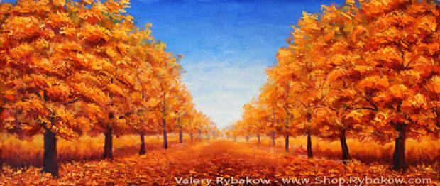 Нежная осень — большая осенняя картина маслом. Художник Рыбаков.