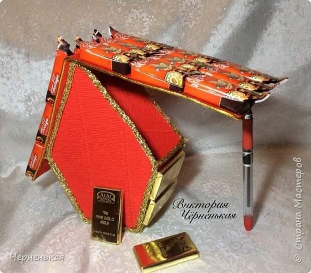 Мастер-класс Свит-дизайн Новый год Моделирование конструирование Домик-часики из конфет Мастер класс Бумага гофрированная фото 14