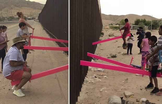 В стене между США и Мексикой установили качели