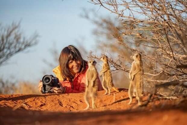 Режим тихой съемки на Canon EOS-1D X Mark III помог Марине крупным планом снимать диких животных, например сурикатов, и при этом не пугать их. © Фергус Кеннеди