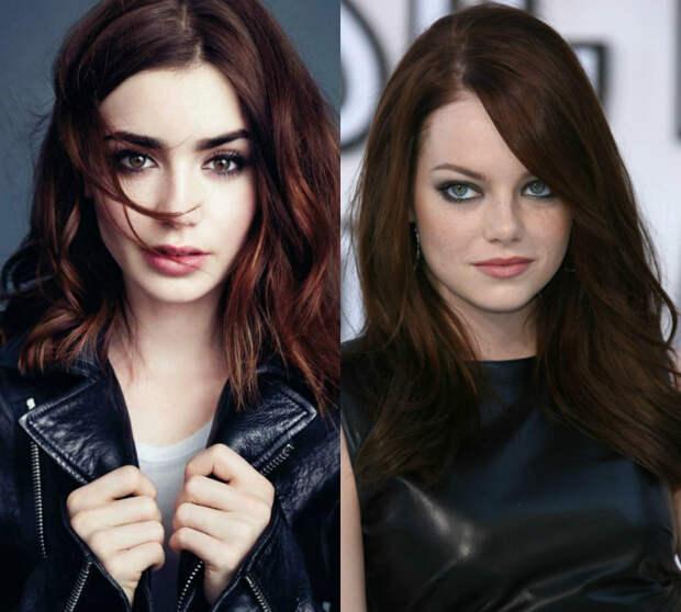 Волосы темно-рыжего оттенка.