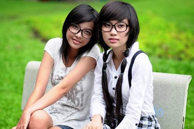 Девочка, Студент, Азиатских, Очки