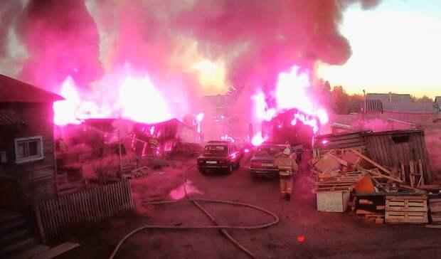 Крупный пожар случился в городе Карелии
