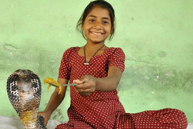 Девочка-кобра из Индии: она живет со змеями