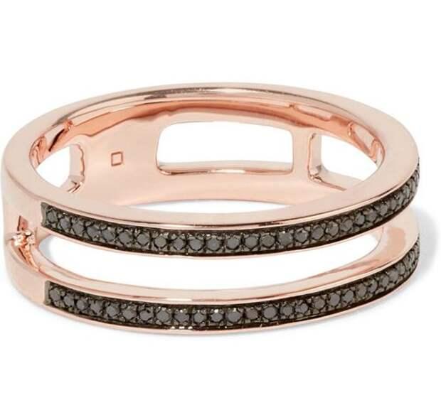 двойное кольцо из розового золота с черными бриллиантами