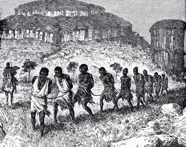 Движущаяся колонна связанных рабов под охраной конных работорговцев (Западный Судан, 1879 - 1881 годы)