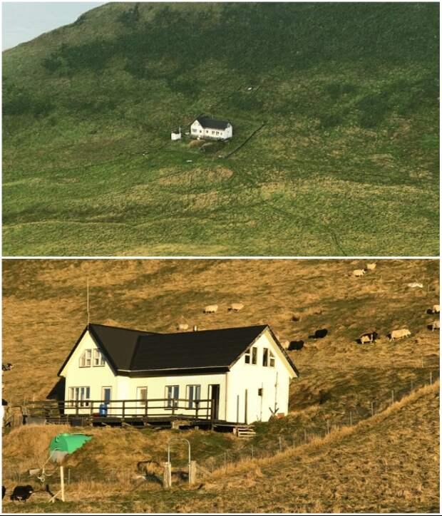 Последняя перестройка одинокого дома на острове была в 2001 г (о. Эдлидаэй, Исландия).   Фото: instagram.com/ © sigurdurkrsigurdsson.