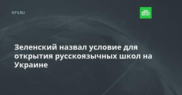 Зеленский назвал условие для открытия русскоязычных школ на Украине