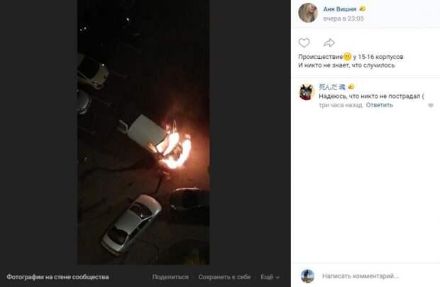На Синявинской сгорел фургон