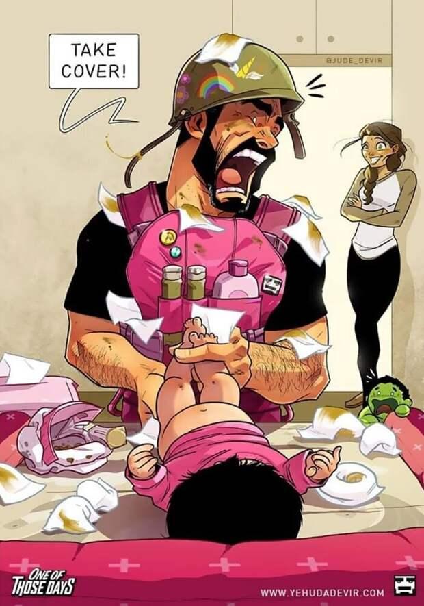 Радости и трудности родительства: художник из Израиля рисует комиксы о жене и дочке