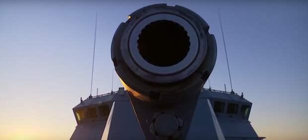 Кадры артиллерийских стрельб экипажа корабля проекта 228000 «Мытищи»