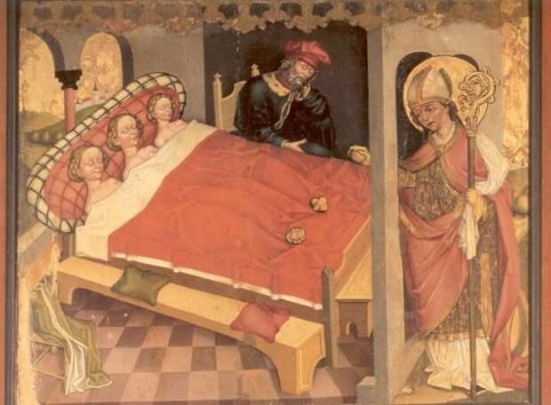 Святой Николай в спальне у спящих девочек. Рядом сидя спит их отец.
