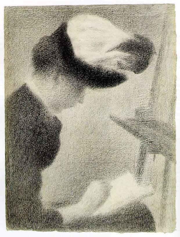 Seurat Woman Seated by an Easel, ca 1884-88, 30.5x23.3 cm,. Сера, Жорж
