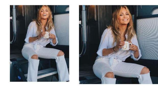 Белая рубашка + джинсы с дырками: идеальный летний образ Дженнифер Лопес для прогулки