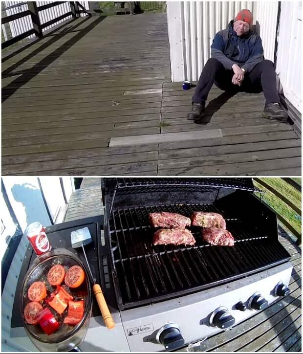 На террасе можно и отдохнуть с дороги, и пожарить мясо с овощами на переносном гриле (о.Эдлидаэй, Исландия).   Фото: youtube.com/ © Torz Film, Bjarni Sigurdsson.