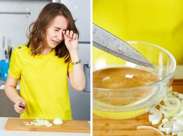 Чтобы порезать лук без слез, нужно макать нож в холодную воду