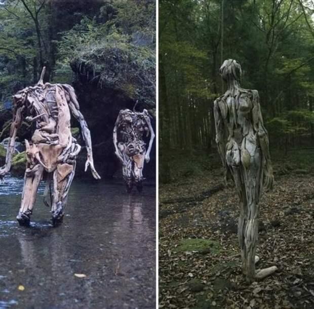 Скульптуры-призраки из коряг