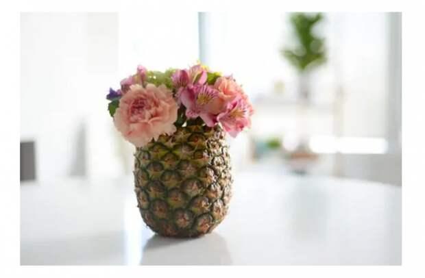 как сделать вазу из фруктов ананаса
