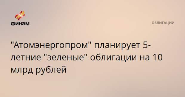 """""""Атомэнергопром"""" планирует 5-летние """"зеленые"""" облигации на 10 млрд рублей"""