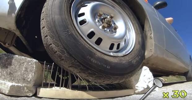 Сколько гвоздей выдержит автомобильная шина: наглядный эксперимент