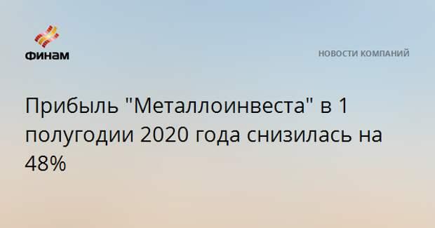 """Прибыль """"Металлоинвеста"""" в 1 полугодии 2020 года снизилась на 48%"""