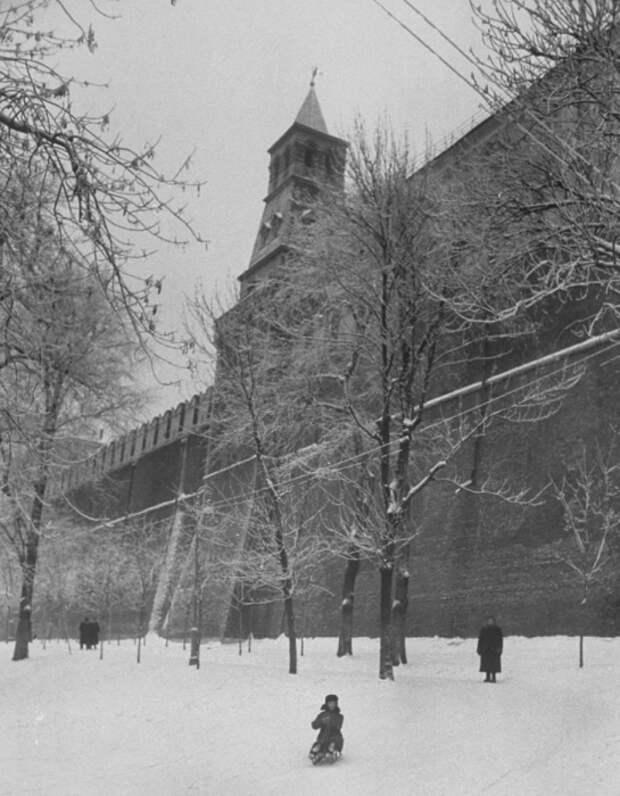 Катание на санках в Александровском саду.