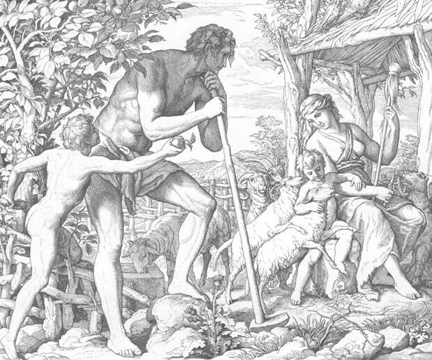 Юлиус Шнорр фон Карольсфельд - Адам и Ева после изгнания из Рая