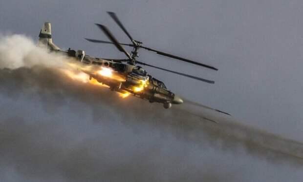 Наперехват военной колонны США отправили вертолёты Ка-52 ВКС РФ