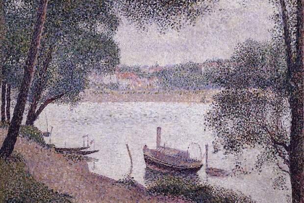 Landscape with a Boat, Seurat - 1600x1200 - ID 8044. Сера, Жорж