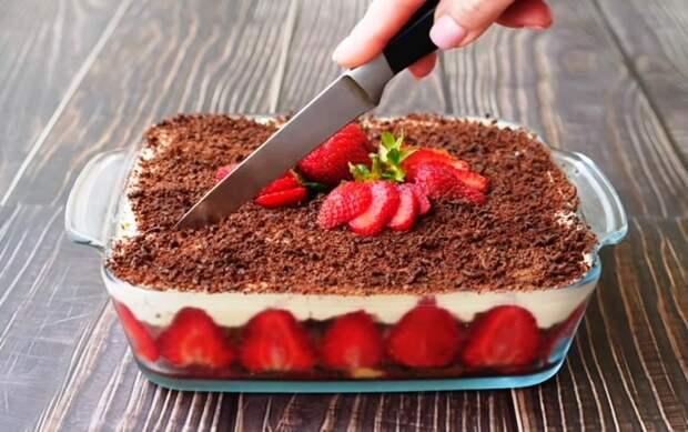 Воздушно нежный клубничный торт! Без выпечки с творожным кремом