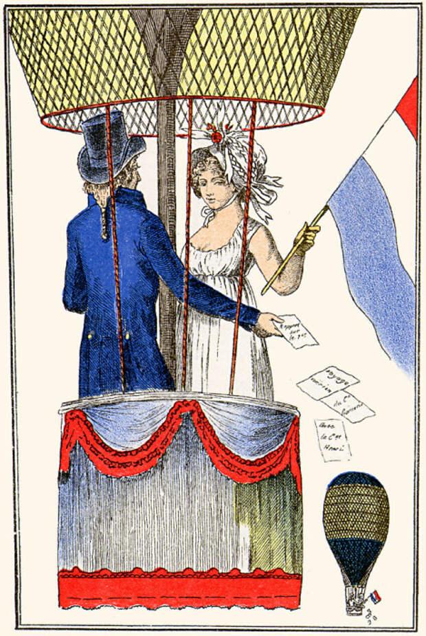 Андре-Жак Гарнерен с гражданкой Анри в полете на воздушном шаре 8 июля 1798 года. | Фото: en.wikipedia.org.