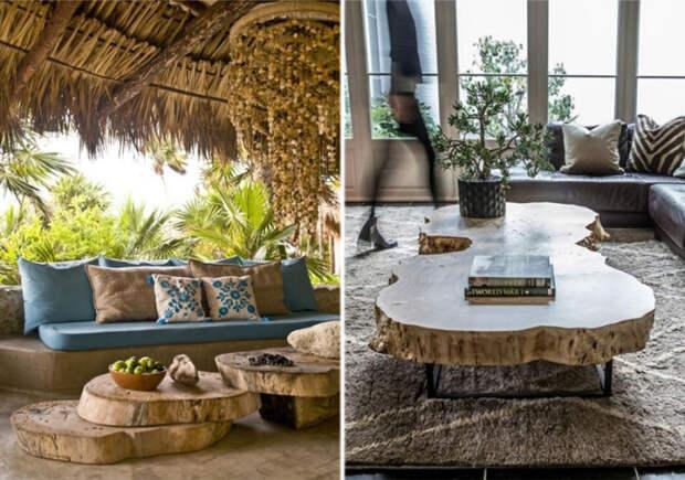 Мебель из спилов дерева. \ Фото: google.ru.