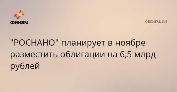 """""""РОСНАНО"""" планирует в ноябре разместить облигации на 6,5 млрд рублей"""