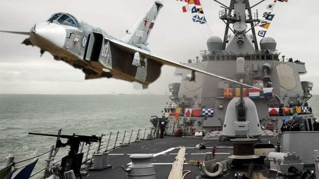 """Военные США сняли на видео полет Су-24 рядом с эсминцем """"Дональд Кук"""""""