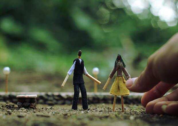 Счастье быть собой: миниатюры из спичек от Korekgraphy