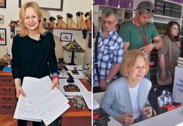 Писательница у себя дома и на встрече с читателями на Книжном фестивале *Красная площадь*, 2018 | Фото: shkolazhizni.ru, uznayvse.ru