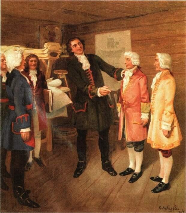 Петр I встречает дворян, прибывших из Европы