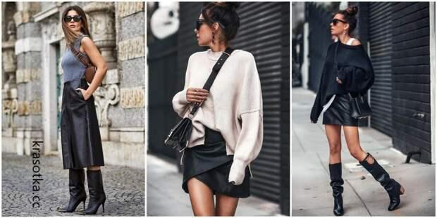 20 модных идей с чем носить изысканную и интригующую черную кожаную юбку