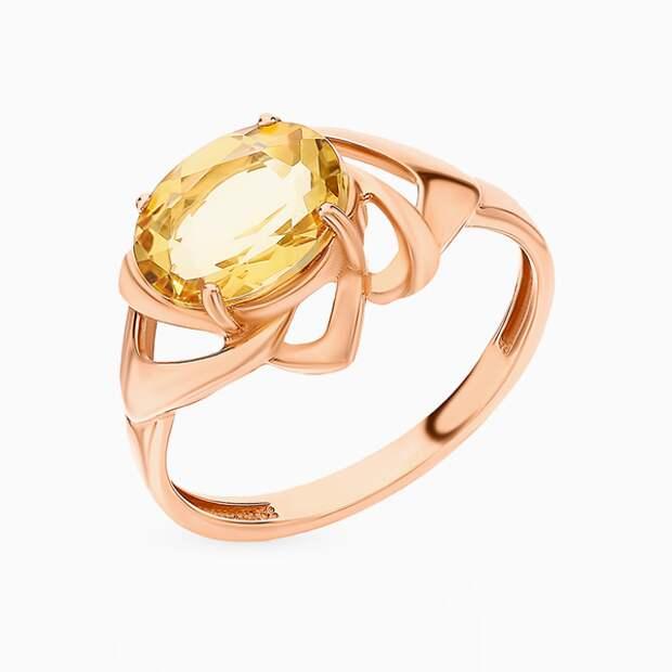 Кольцо «Ювелирные традиции» как у Холли Берри, розовое золото, цитрин