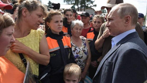 Владимир Путин на встрече с пострадавшими от наводнения в Иркутской области.