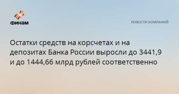Остатки средств на корсчетах и на депозитах Банка России выросли до 3441,9 и до 1444,66 млрд рублей соответственно