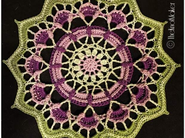 Красивая мандала крючком «Frozen Lotus». Схема вязания и описание на русском языке