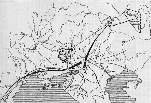Хазарский каганат и соседи (по С.А. Плетневой)