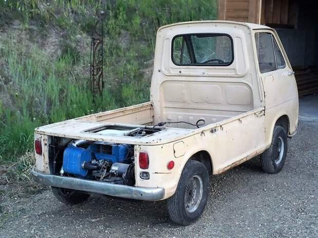 А моторчик-то вот где… jdm, subari, subaru sambar, авто, автомобили, кей-кар, япония