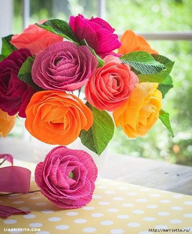 Открытка из гофрированной бумаги розы