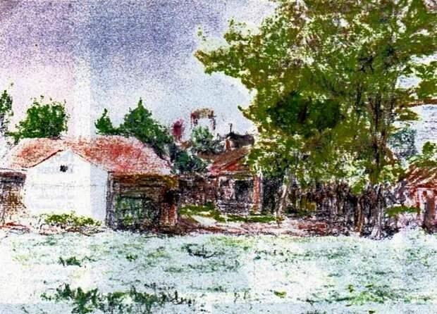Георгий Вицин. Пейзаж написан во время съемок фильма «Женитьба Бальзаминова», 1964 год.