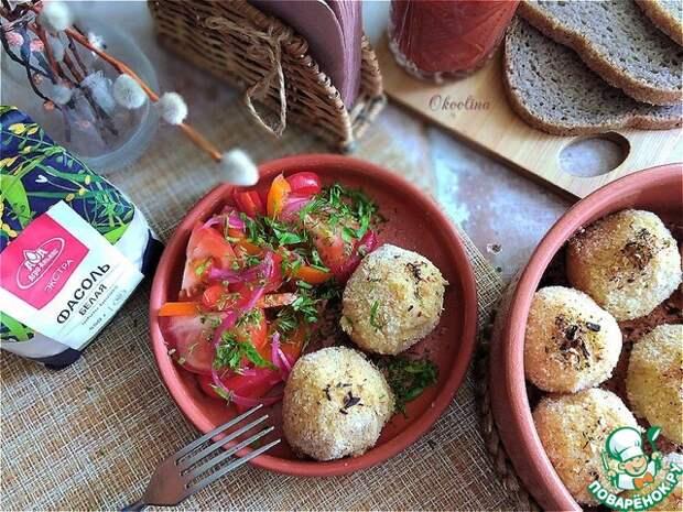 Запечённые фасолево-картофельные колобки