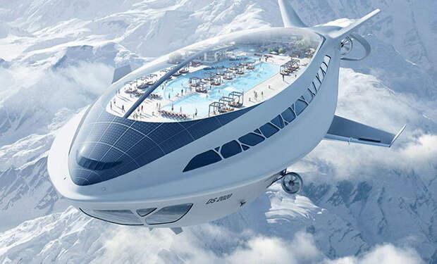 Дирижабли будущего будут размером с небольшой город. На борту аппаратов появятся прогулочные палубы и даже бассейны