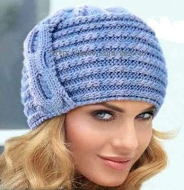 Джемпер и симпатичная шапочка спицами
