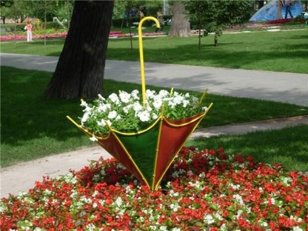 Креативная клумба из зонтика.